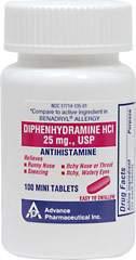 Antihistamine Diphenhydramine HCI 25 mg USP