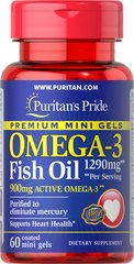 Omega-3 Fish Oil 1290 mg Mini Gels (900 mg Active Omega-3) Per Serving