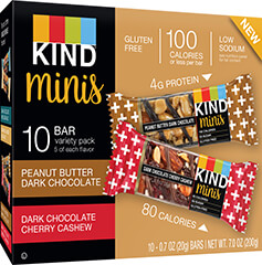 KIND Mini's PB Dark Chocolate + Dark Chocolate Cherry Cashew