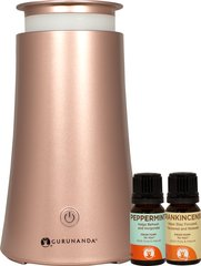 GuruNanda® RoseGold Tower Essential Oil Diffuser + 2 Oils