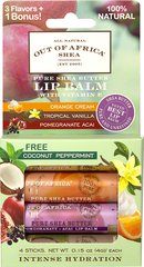 Shea Butter Lip Balm 4-Pack with Tropical Vanilla, Coconut, Orange Cream & Pomegranate Acai