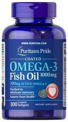 Omega-3 Fish Oil Coated 1000 mg (300 mg Active Omega-3)