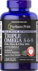 Maximum Strength Triple Omega 3-6-9 Fish, Flax & Chia Oils