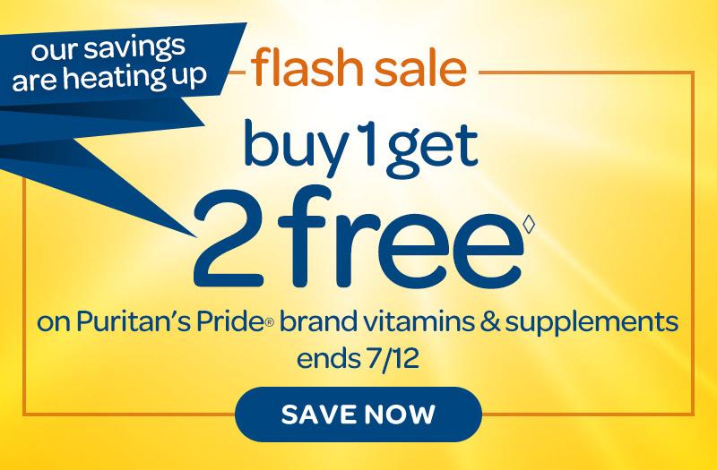 33efb6cdb75 Flash Sale, Buy 1 Get 2 Free on Puritan's Pride brand vitamins &  supplements.