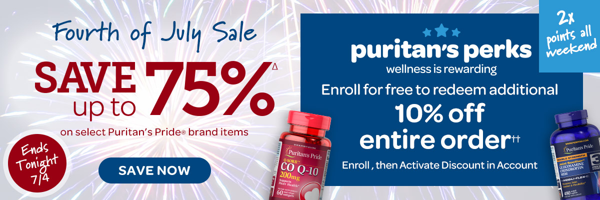 4th of July Save up to 75% plus Puritan's Perks Enroll for 10% off Ends Tonight