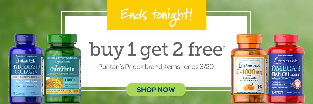 It's back.  Buy 1 Get 2 Free on Puritan's Pride brand vitamins and supplements.