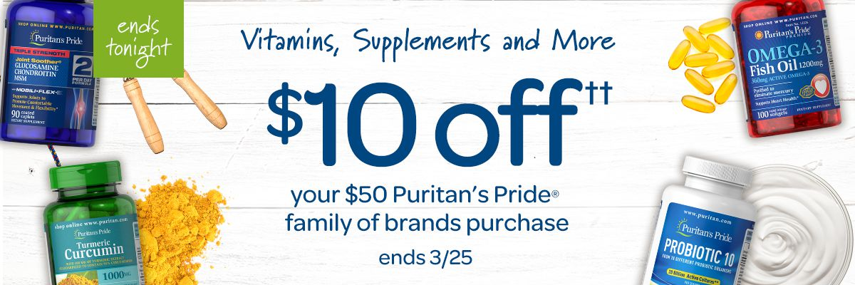 Vitamins, Supplements and More $10 off $50