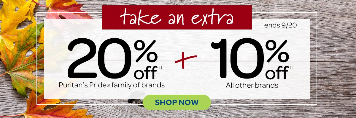 Save 20% on Puritan's Pride brand Items, Plus Save 10% on all other brands