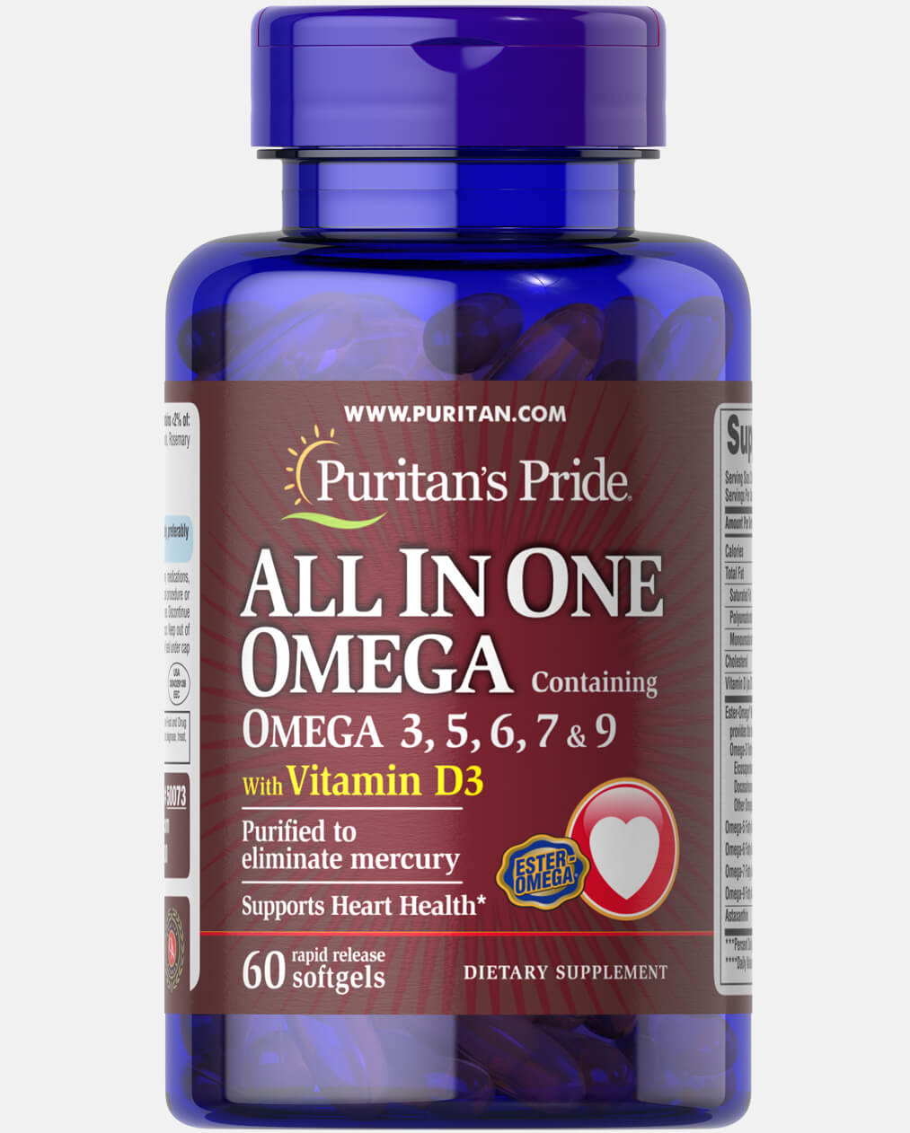 All In One Omega With Vitamin D3 60 Softgels Puritan S Pride